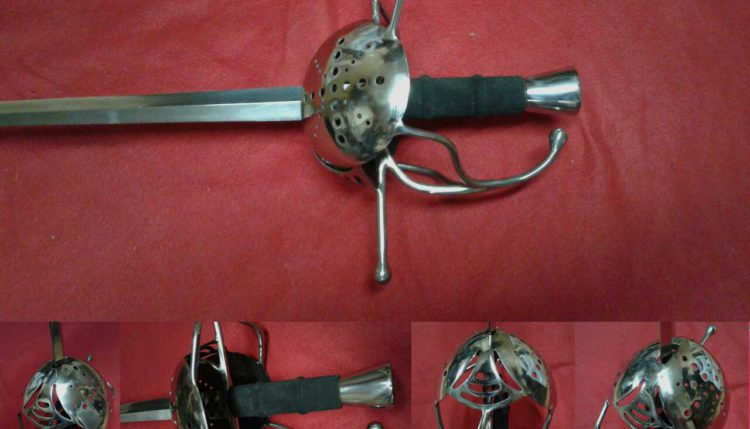 Sword with a protective shield, complex hilt